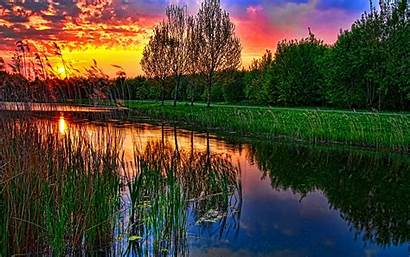 Sunset Lake Wallpapers Hdr Nature Desktop Background