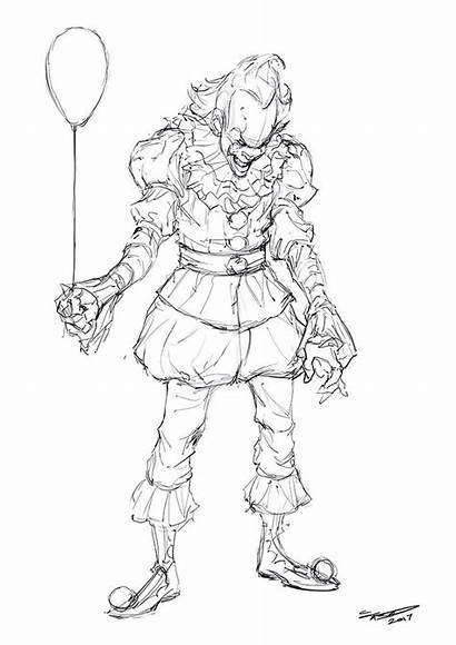 Pennywise Coloring Pages Clown Scary Printable Drawing
