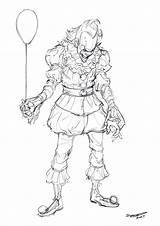 Clown Pennywise Coloring Pages Drawing Scary Printable Sketch Getcolorings Getdrawings sketch template