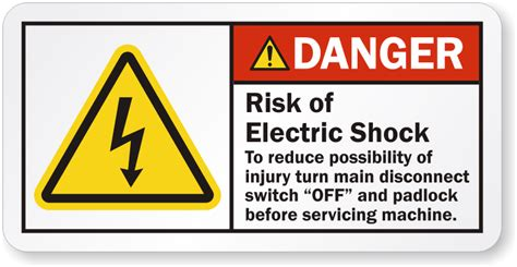 Safety Labels by Risk Of Electric Shock Turn Disconnect Switch