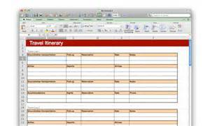 Microsoft Office Travel Itinerary Template