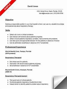 Respiratory therapist resume sample for Free respiratory therapist resume templates