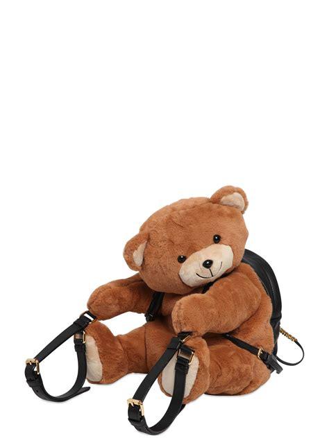 stradivarius backpack velvet lyst moschino plush teddy backpack in brown