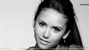 Nina Dobrev Smiling Cute Face Black & White Wallpaper
