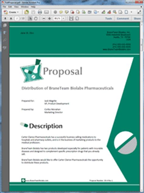 pharmaceutical product sales sample proposal