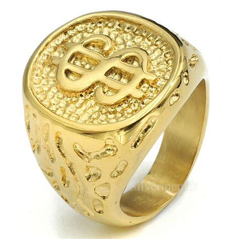mens boys  gold plated money cash sign band stainless