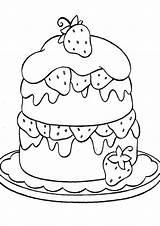 Coloring Cake Easy Tulamama Cupcake Strawberry Fruit sketch template