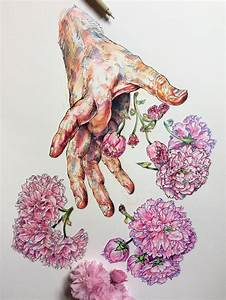 Colorful studies of an artists hands layered with flowers for Colorful studies of an artists hands layered with flowers and bees