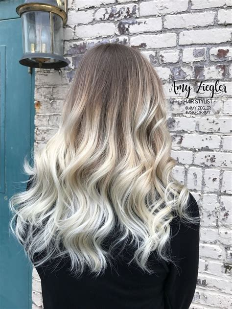 platinum blonde balayage ombre  natural root