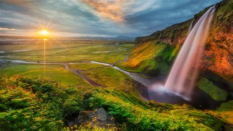 Wallpaper Hd by Photo Wallpaper Hd Waterfall River Valley Sunset