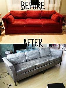 Reupholster your sofa before and after homemadebyjade for Reupholster a sectional couch with recliner