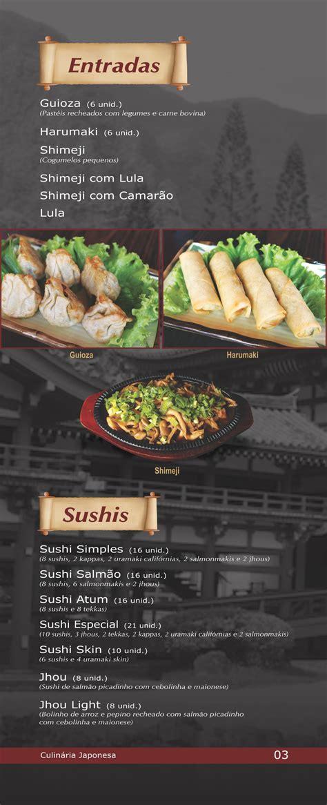 cardapio mizu restaurante japones