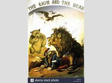 THE LION AND THE BEAR Cover of sheet music for 1877 song