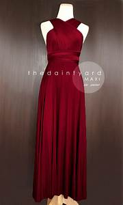 maxi wine red bridesmaid dress prom dress wedding dress With red cocktail dresses for weddings