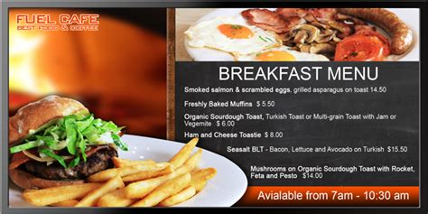cuisine tv menut perth led display cafe signage