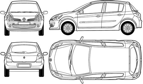 car blueprints renault clio iii blueprints vector