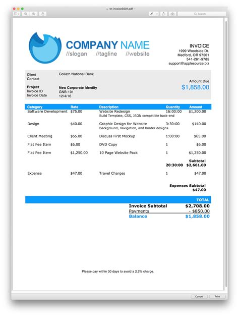 html invoice template applesource software gt timenet invoice templates time tracking billing and invoicing software