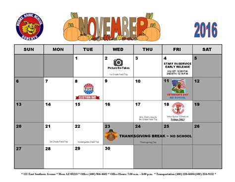 november newsletter calendar burke basic school