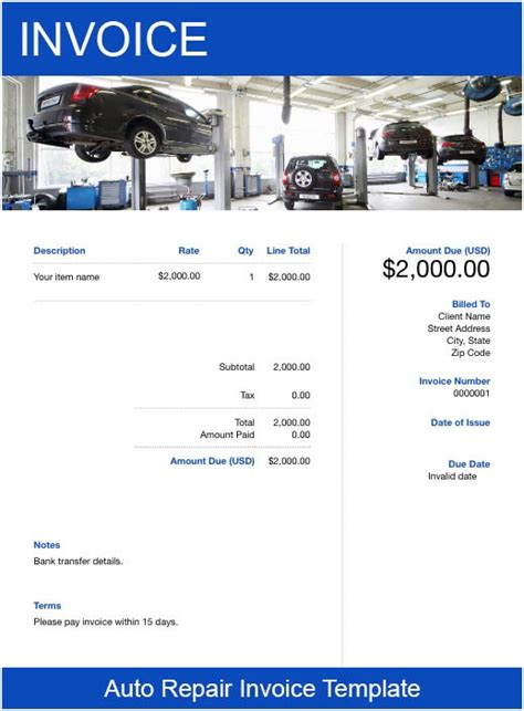 auto repair invoice template   send  minutes
