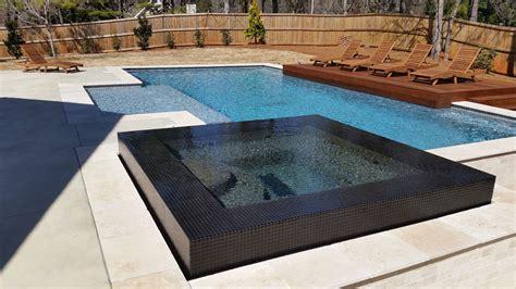modern pool  tile infinity edge spa  freeform