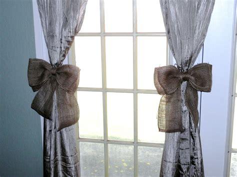 burlap bow curtain tie back set of twowreath decor