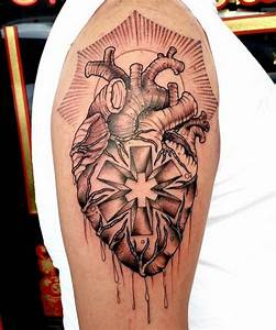 Anatomical heart with the star of life : tattoo