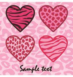 Zebra print hearts with pink outline Royalty Free Vector