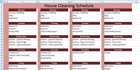 Domestic Cleaning Schedule Template by Get House Cleaning Schedule Template Xls Free Excel