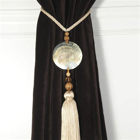 pair of shell curtain tie backs by