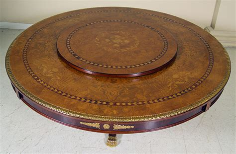 table spinning center designs european style dining room tables with floral inlays and
