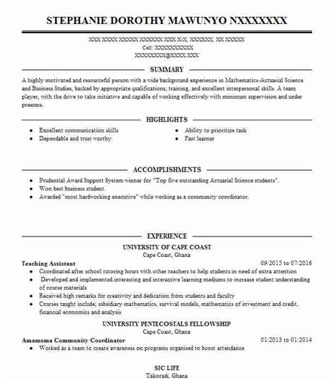 Actuarial Resume Sles by Insurance Resume Exles Sles Livecareer