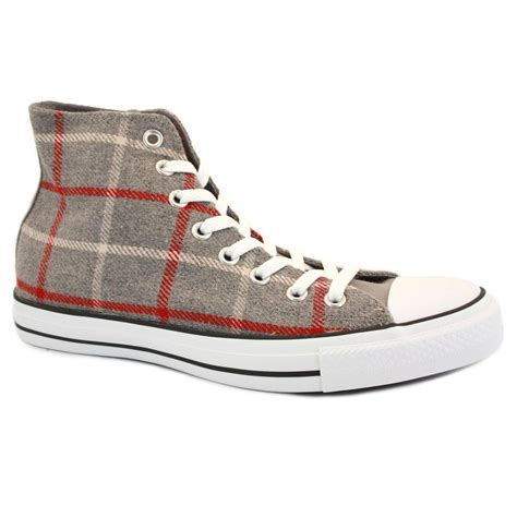 converse all plaid high 135270c unisex laced textile trainers grey