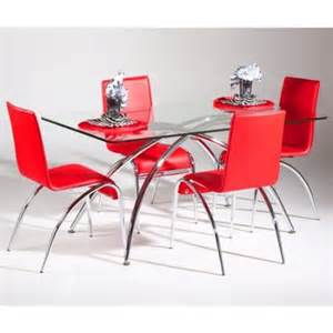 chintaly elaine 5 piece rectangle glass dining table set