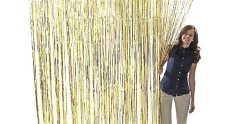 Metallic Gold Foil Fringe Curtains (1 Pc) By Fun Express. .50. 1 Curtain. Measures Shower Curtain Clip On Weights Childrens Fabric Nz Hanging Panels And Valances Heavy Duty Clips W Hook Mainstays Medallion Grommet Divisoria Curtains Philippines Simple Tutorial 120 Inch Sheer