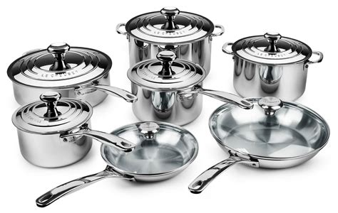 stainless steel creuset cookware le piece sets pan recipes qt cutleryandmore