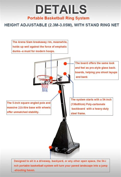 portable basketball ring system slam dunk height