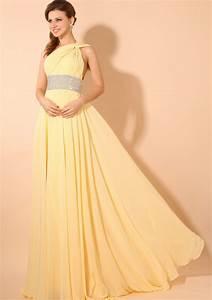 Light Yellow Chiffon Long Column/ Sheath Prom Dress ...