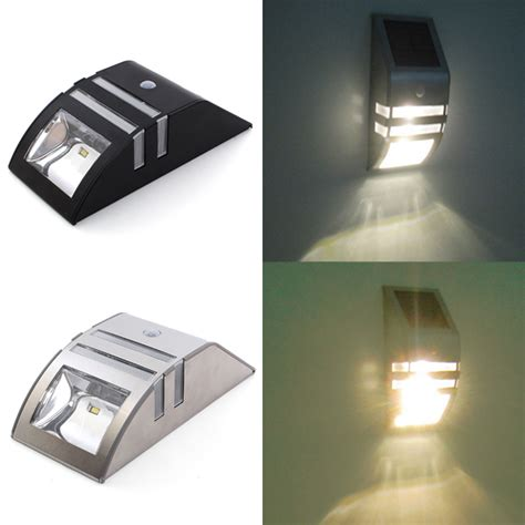 solar sensor wall light stainless steel solar power highlight led pir induction