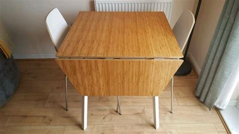 Modern Bamboo Topped Drop Leaf Table With 2x Chairs (ikea