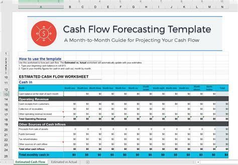 cash flow excel template forecast  cash flow