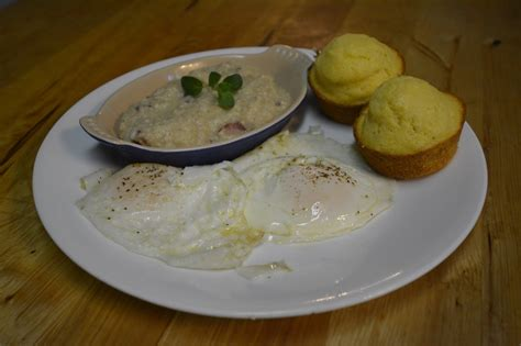 Feed your creativity — corned beef and shrimp grits with caraway havarti honest cooking. Joie de Vivre: Cajun Eggs with Cheesy Tasso Grits & Cornbread