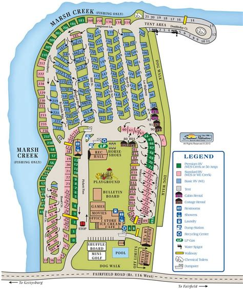 Gettysburg Campground Site Map  Camping Tips  Rv Camping