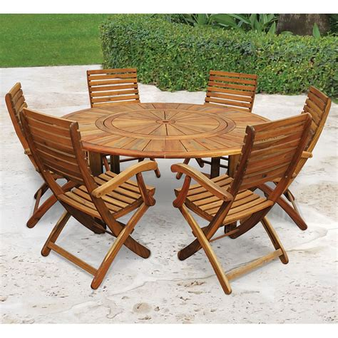 the lazy susan outdoor table set hammacher schlemmer