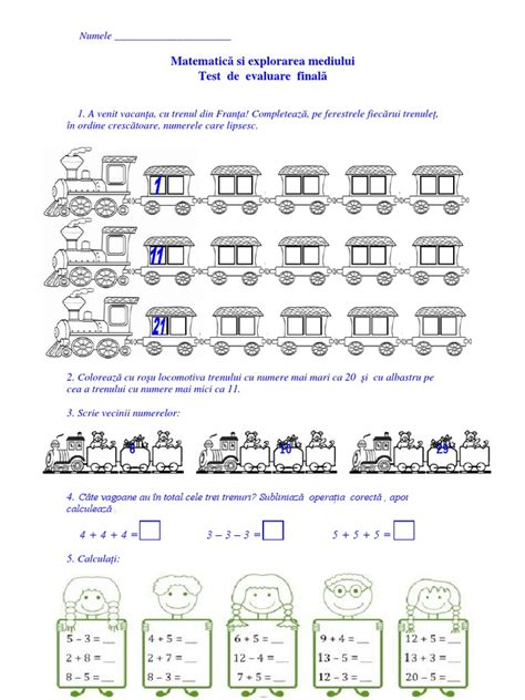Matematica Evaluare Finala Clasa Pregatitoare