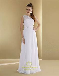 chiffon one shoulder neckline slim a line wedding dress With slimming dresses to wear to a wedding