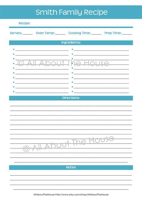 personalised printable recipe binder