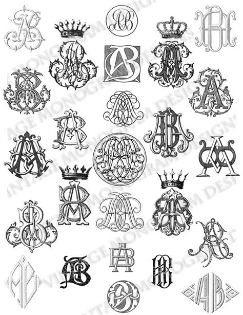 Custom monogram collection created using monograms from antique books, available through Etsy