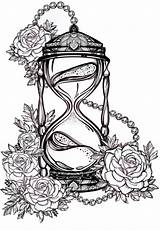 Hourglass Tattoo Sablier Roses Drawing Drawn Sanduhr Celestial Alchemy Tattoos Romantic Tatouage Rosen Avec Young Coloring Rosalie Adult Drawings Gezeichnetes sketch template