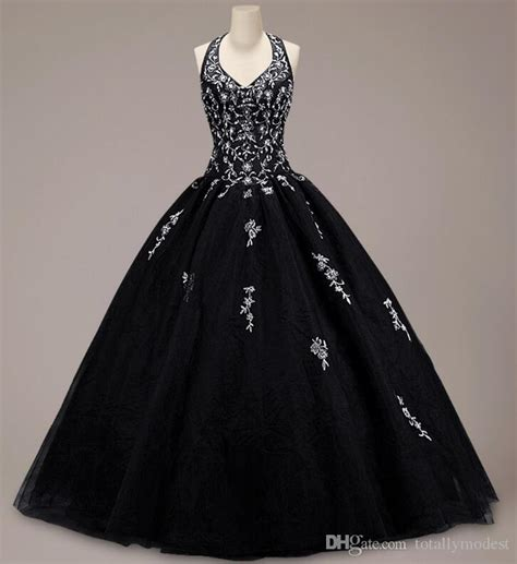 Discount Vintage Colorful Black Ball Gown Gothic Wedding