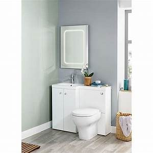 wickes white l shaped vanity unit basin lh wickescouk With built in bathroom suites